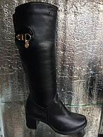Сапоги женские кожаные осень на каблуке на широкое голенище 36-41 размер