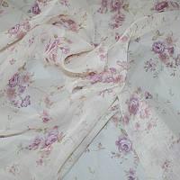 Тюль с рисунком розы сиреневые