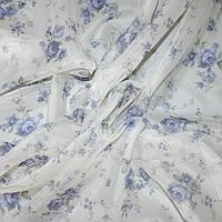 Тюль с рисунком розы голубые, фото 1