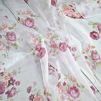 Тюль с рисунком розы розовые большие
