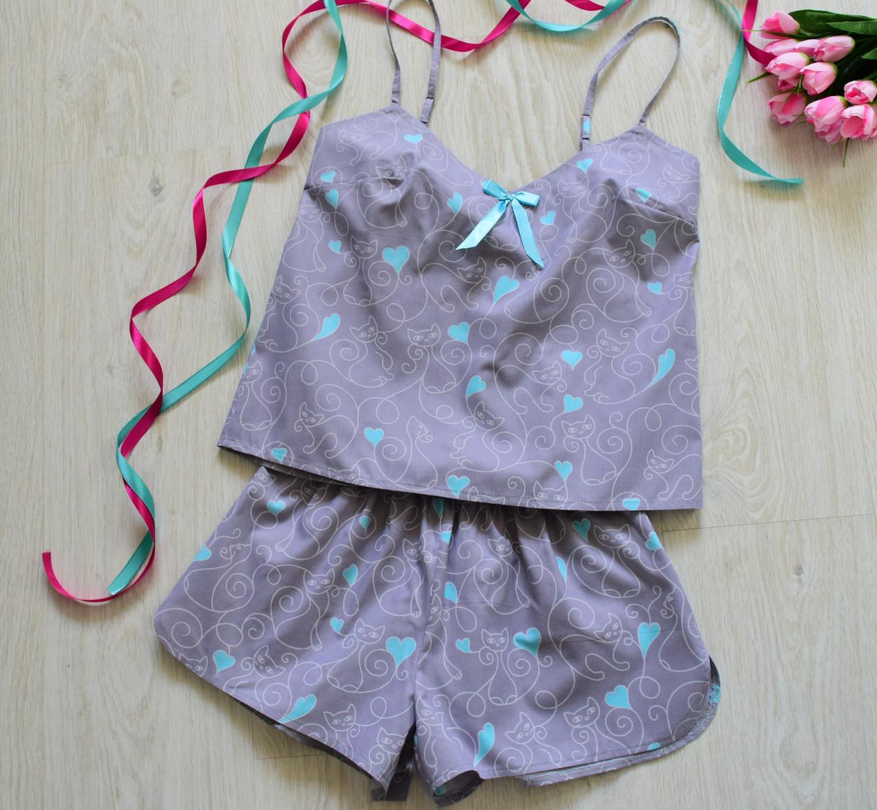 d9fb796fe8e8 Пижама женская 100% хлопок майка+шорты