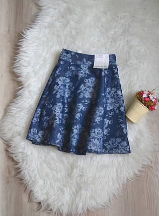 Новая джинсовая юбка в цветочный принт Denim Co, фото 2