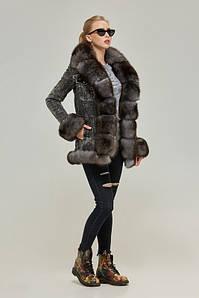 Модная зимняя джинсовая парка с натуральным мехом 42-52 р