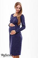 Платье для беременных и кормящих MARIBETH, синий меланж, фото 1