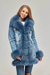 Джинсовая зимняя куртка-парка с натуральным мехом 44-52 р