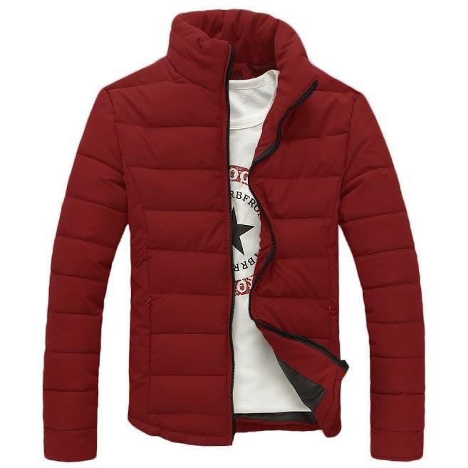Зимняя мужская куртка стеганая с воротником стойка бордовая
