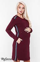 Модное платье-туника для беременных и кормящих DANIELLE WARM, марсала, фото 1