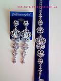 Комплект вечерние серьги-гвоздики и браслет с черными камнями, высота 9,8 см. , фото 6