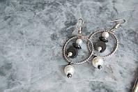 Серьги с гематитом и жемчугом серебро 925