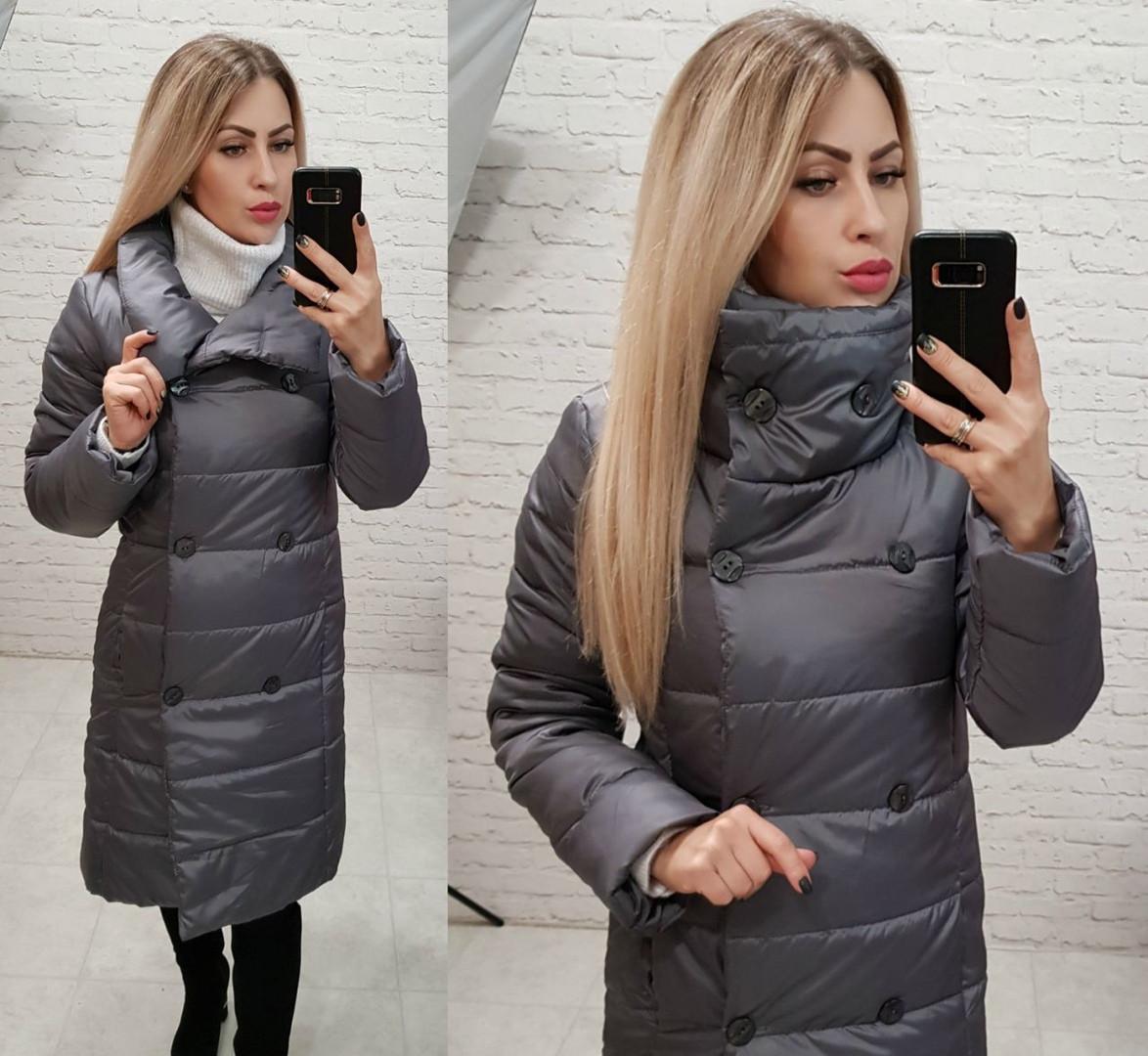 Женское пальто зимнее плащевка силикон 300 высокий ворот размер: 42,44,46,48
