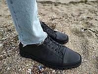 Натуральная кожа! Мужские туфли Random (размеры в описании) на шнурке черные из натур. кожи