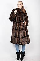 Шуба женская из искусственного меха коричневая м-337/2 48-62 размеры, фото 1