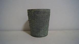 Кашпо горшок для растений маленький декоративный зелёный винтажный
