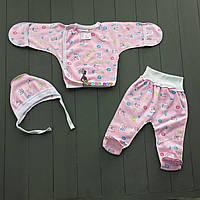 Комплект для новорожденного розовый футер (распашонка+ползунки+шапочка) 56-62 р-р, фото 1