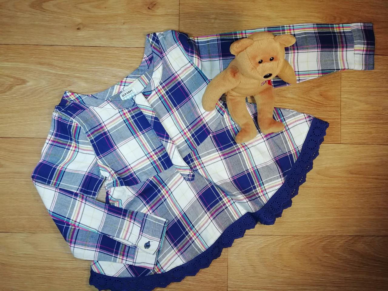 Стильная хлопковая мягенькая рубашечка в клетку (Размер 5Т) Оldnavy (США)