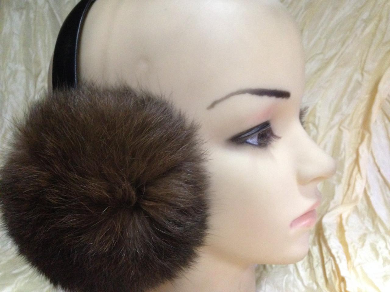Наушники на широком обруче из меха кролика цвет коричневый