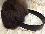 Наушники на широком обруче из меха кролика цвет коричневый, фото 2