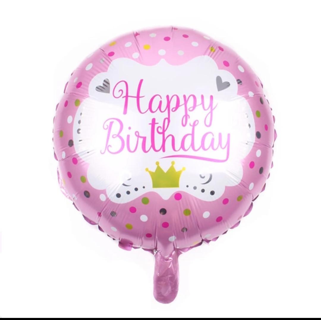 Фольгований повітряна куля Happy Birthday рожевий діаметр 45 див.