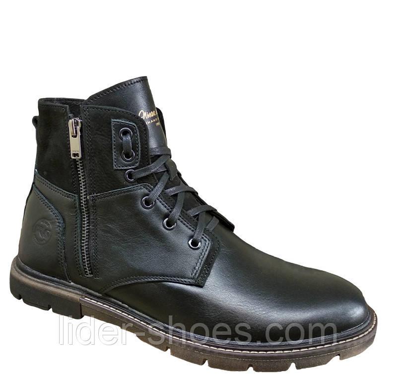 Мужские кожаные ботинки черного цвета