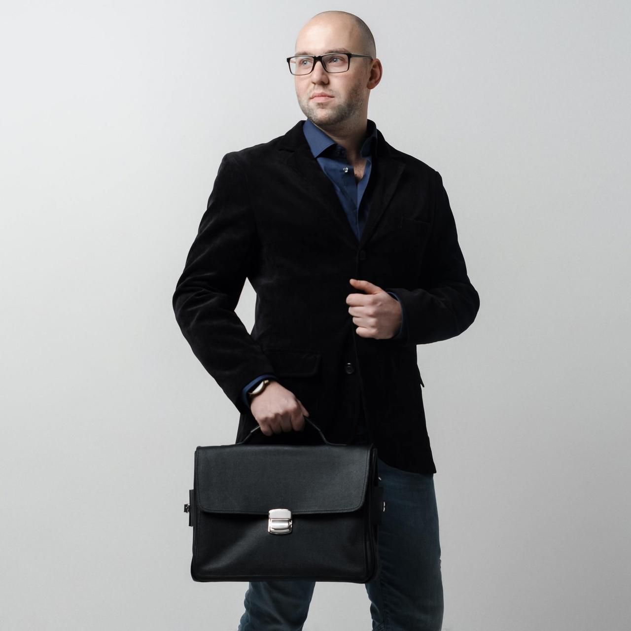 Кожаный портфель, мужской портфель