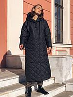Зимнее длинное стеганое пальто с капюшоном, фото 1
