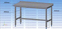 Стол промышленный из нержавеющей стали 900*600*850, стол пристеночный из нержавейки