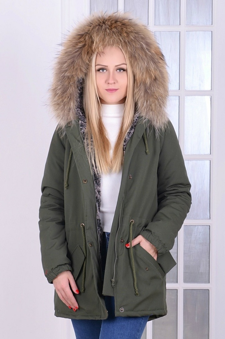 ab097eb3b65 Куртка парка зимняя женская с натуральным мехом на капюшоне енот цвет хаки  -