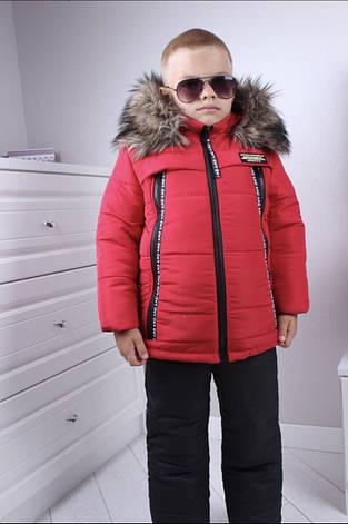 Тёплый комбинезон для мальчика р.86-116 красный+черный, фото 2