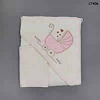 Махровое полотенце-уголок с варежкой для купания. 80х80 см
