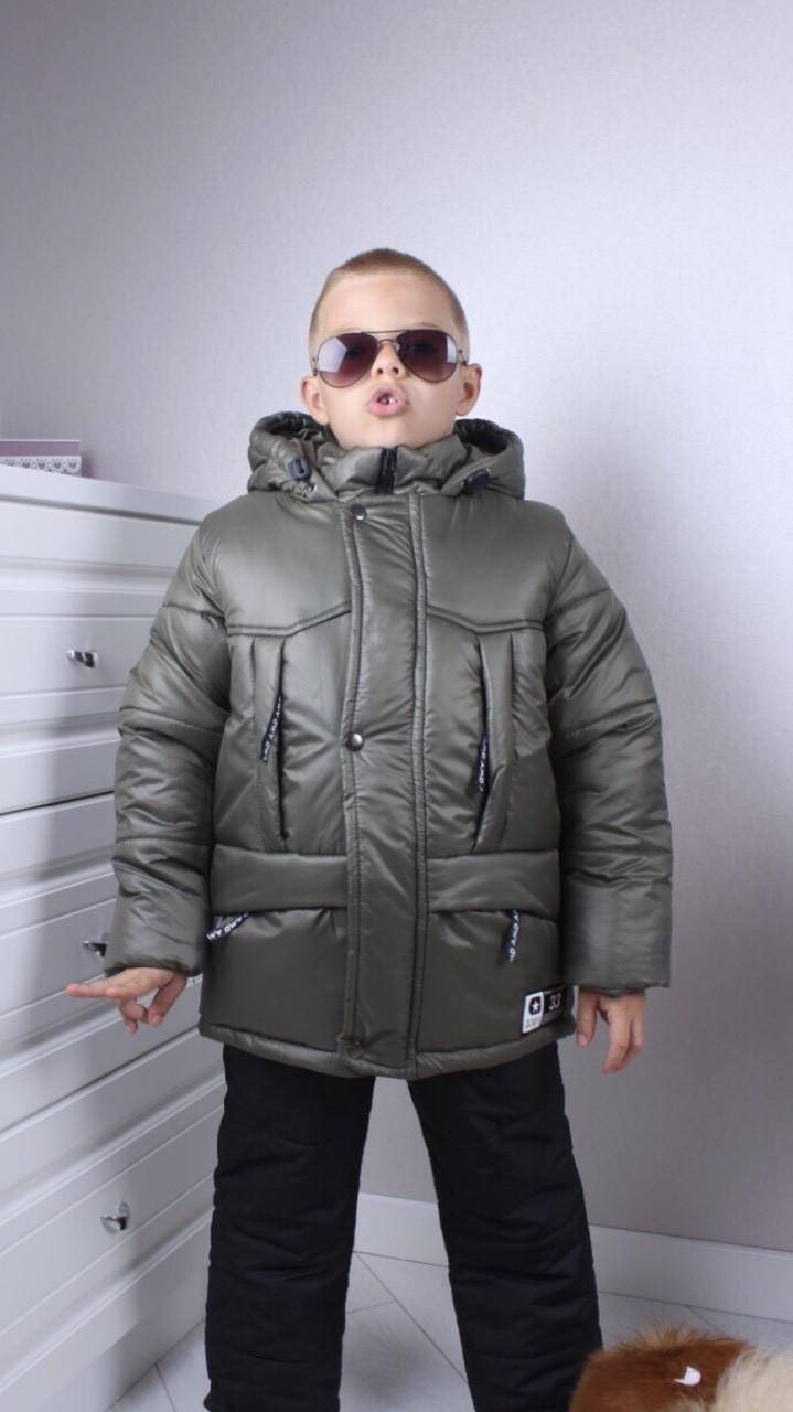 Тёплый комплект для мальчика р.86-116 хаки+черный