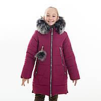 """Зимнее стильное пальто + шарф в подарок,  для девочки """"Лисан"""", Зима 2019 года, фото 1"""