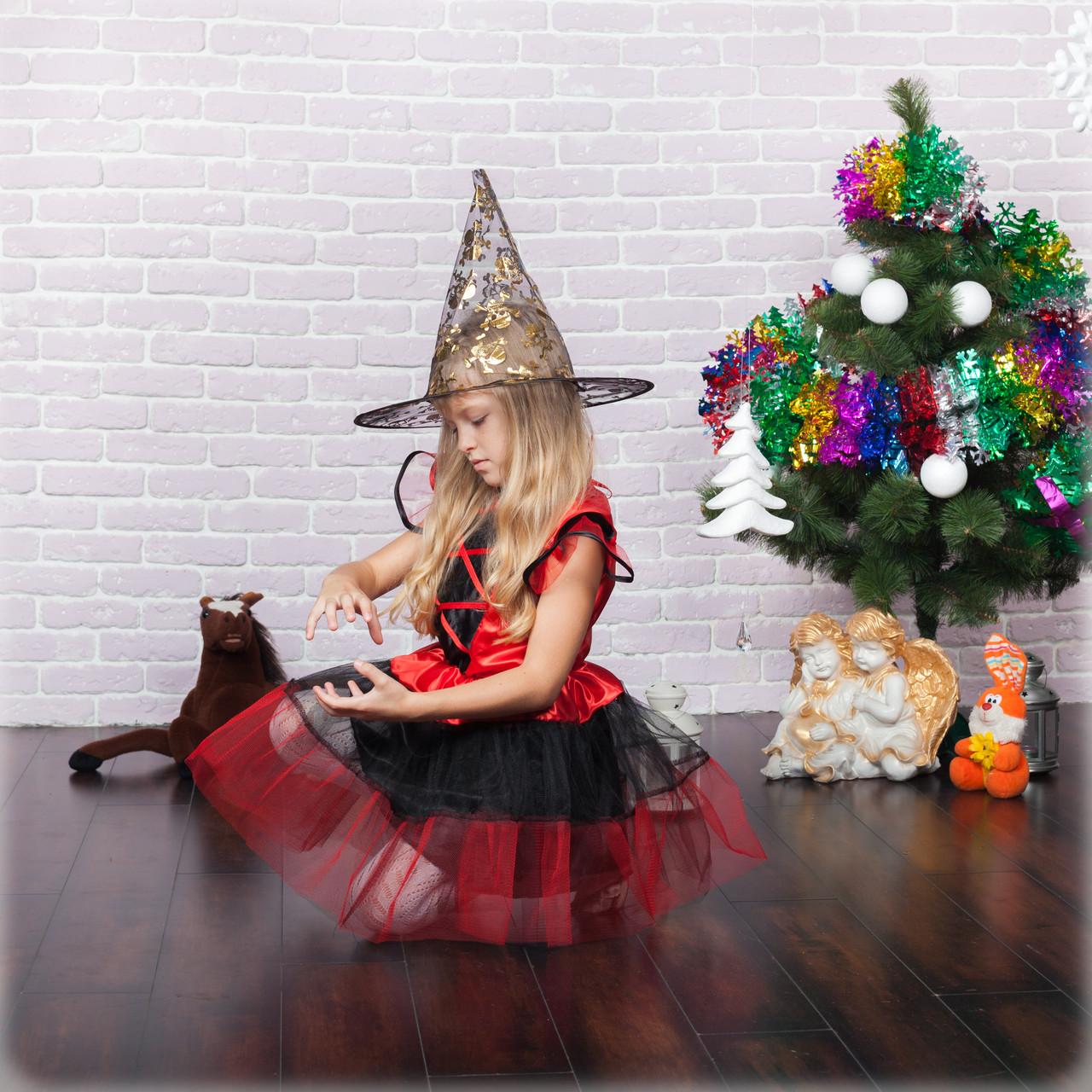 Маскарадный костюм волшебницы на девочку/красный