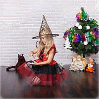 Маскарадный костюм волшебницы на девочку/красный, фото 1