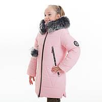 """Зимнее стильное пальто+хомут  для девочки """"Лисан"""", Зима 2019 года, фото 1"""