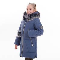 """Зимнее стильное пальто + шарф в подарок  для девочки """"Лисан"""", Зима 2019 года, фото 1"""
