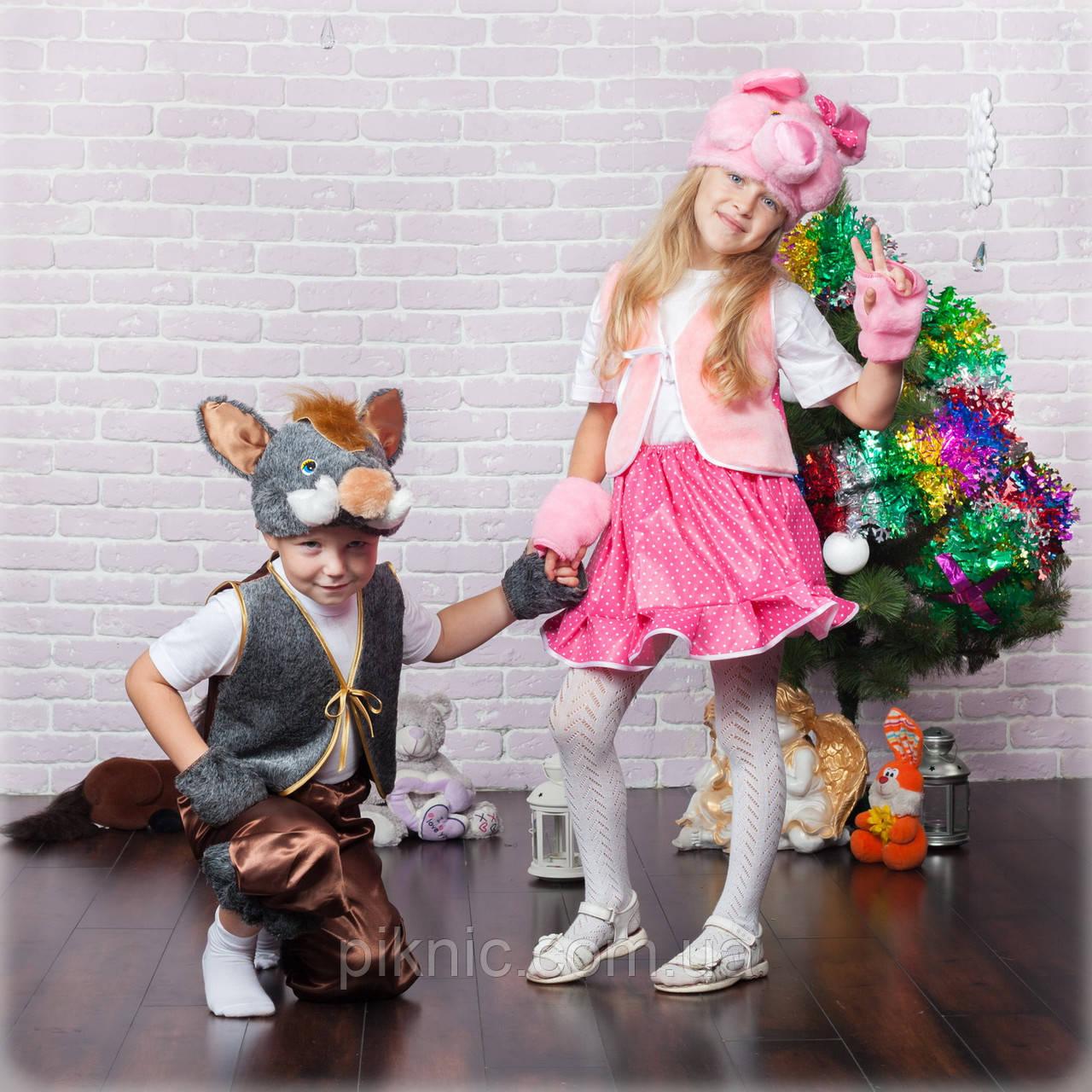 Костюм Хрюша для девочек 3,4,5,6,7 лет. Детский карнавальный новогодний костюм Свинка, Поросенок