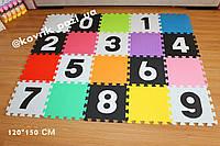 Игровой коврик пазл в детскую 120*150 см (20 шт, черный, белый, радуга)