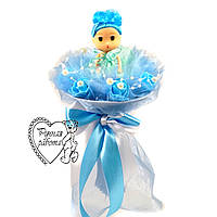 Букет з лялькою блакитний