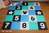 Игровой коврик пазл в детскую 150*150 см (25 шт, черный, белый, мятный, голубой)