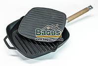 Сковорода-гриль чугунная 26х26см квадратная с чугунным прессом 22,5х22,5см 2кг и съемной ручкой Биол 1026П-2