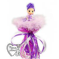 Букет с куклой фиолетовый