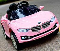 Детский электромобиль БМВ BMW розовый (белый, красный, желтый) M 3175 EBLR-8. Колеса EVA, кожаное сидение.