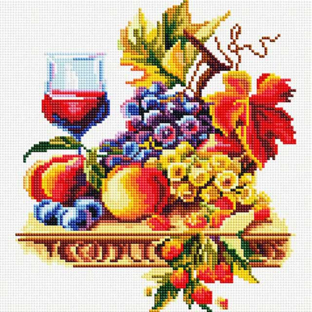 """Алмазная вышивка """"Натюрморт с виноградом"""" Белоснежка 30х30 см"""
