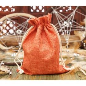 Чехол для рун, мешочек из джута 7х10 см.Оранжевый