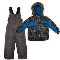 Зимний детский термокомплект X-Trem by Gusti, черно-синий с меховой опушкой, размеры 92-134