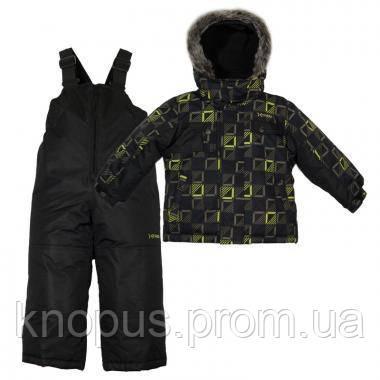 Зимний детский термокомплект X-Trem by Gusti, черно-серый с меховой опушкой, размеры 92-134