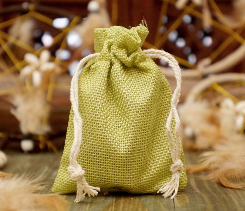 Чехол для карт таро, мешочек из джута 7х10 см. Салатовый