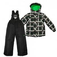 Зимний детский термокомплект X-Trem by Gusti, черно-серый с зеленым, размеры 92-134