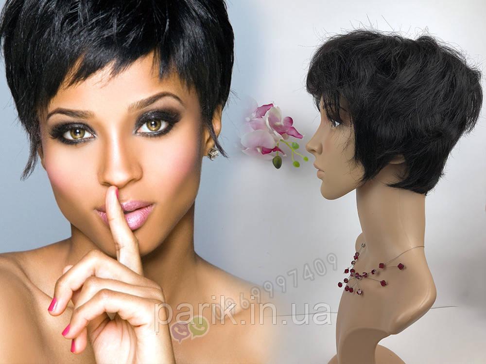 Натуральный парик женский. Короткая стрижка. Чёрный из натуральных волос