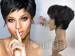 Натуральный парик женский. Короткая стрижка. Чёрный волос.